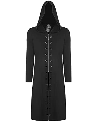 e71cbc4eb9 Punk Rave Mens Gothic Hoodie Long Black Dieselpunk Apocalyptic Hooded  Jacket: Amazon.co.uk: Clothing