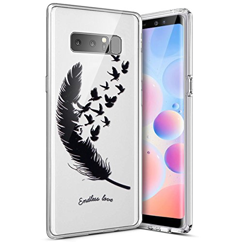 Galaxy Note 8 Case,Galaxy Note 8 Cover,Ultrathin Transparent Silicone TPU Gel Rubber Soft Touch Back Premium Skin Crystal Clear Case Bumper Colored Print Shock Slim Fit Protective,Birds ()