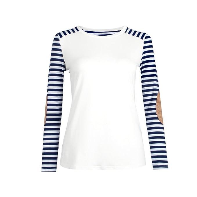 FEITONG Mujer Raya Manga Larga Camisa Blusa Ocasional Tops Camiseta (S, Azul)