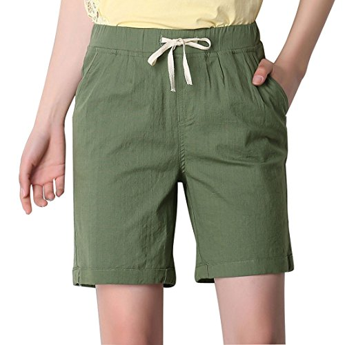- Chartou Women's Modest Loose Elastic-Waisted Bermuda Drawstring Casual Shorts (X-Large, Army Green)