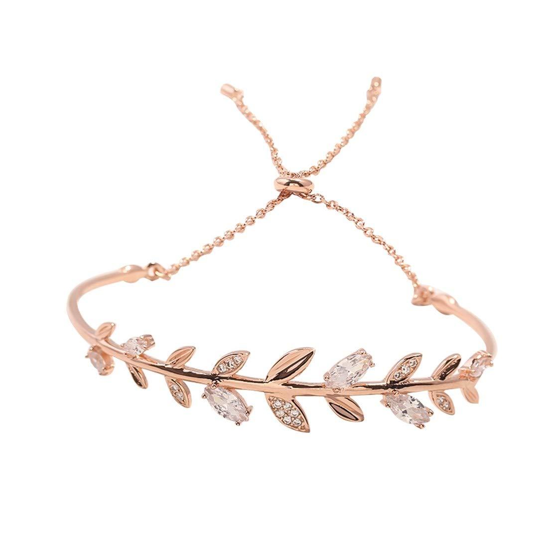 YIYIYAレディースブレスレットS925スターリングシルバージルコンの葉の形を引く素敵な甘い女の子の結婚式の宝石類レディースジュエリーギフト   B07LH21DY9