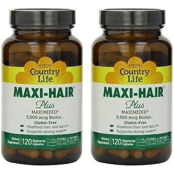 Country Life Maxi Hair Plus 5,000 mcg Biotin 120 VegiCaps (2 Pack)