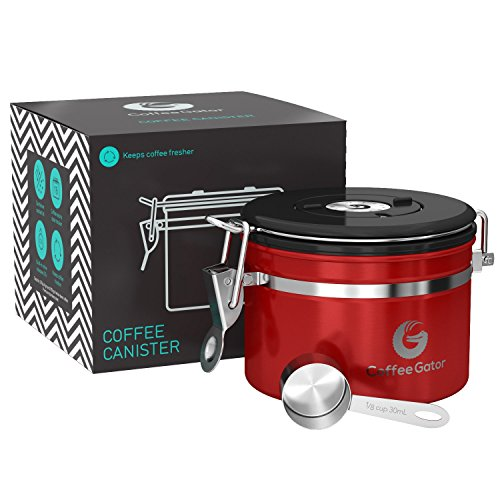 Coffee Gator Stainless Steel Container - Canister with co2 Valve and Scoop - Small, Red (9 Ounce Ground Coffee)