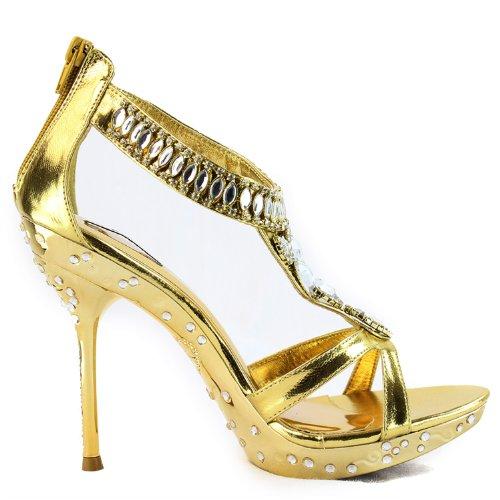 Womens Plattform Stilettos Hög Klack Kristall Strass Aftonklänning Sandaler Mode Skor Golds