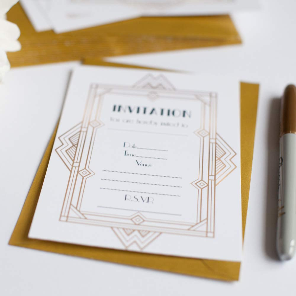 10 x Great Gatsby Wedding Gold /& White Invitations with Gold Envelopes Art Deco Birthday Anniversary Party Roaring 20s Dress Party