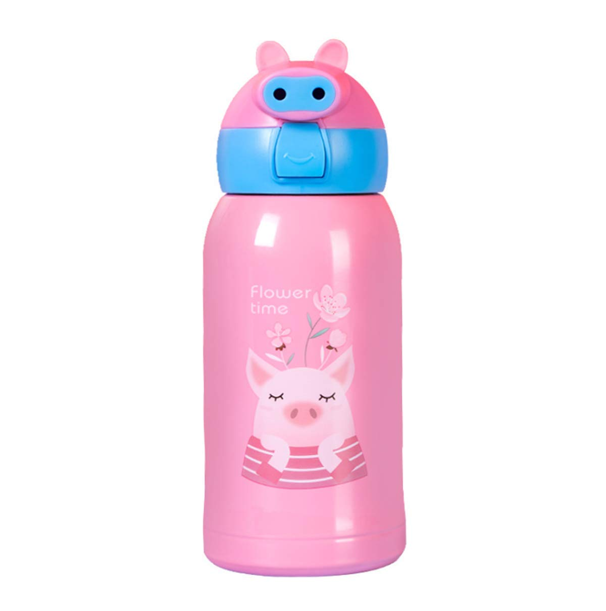 XIUHAO Pig Vacuum Flask, Stainless Steel Vacuum Flask Long-Term Insulation Leak-Proof Soft Silicone Suction Tube for Children by XIUHAO