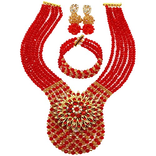 (laanc Womens Wedding 6 Rows Champagne Gold AB and Multicolor Crystal Beads African Jewelry Sets (Red Champagne Gold)