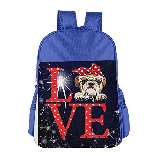 Love Bulldog Cartoon Funny Girls Classic Backpack School Bag