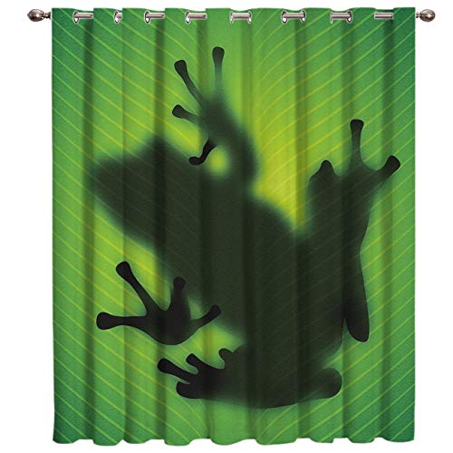 Advancey Animal Blackout Curtains Room Darkening Window Panel Frog Shadow Silhouette on The Green Banana Tree Leaf Thermal Insulated Curtain for Bedroom Living Room (1 Panel,52x24inch)