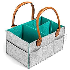 Rexford Brody Diaper Caddy Organizer – Extra Sturdy Double-Wall Felt Construction with Thick Leather Handles – Use for Any Portable Storage Needs – Stylish & Modern Two-Color Design