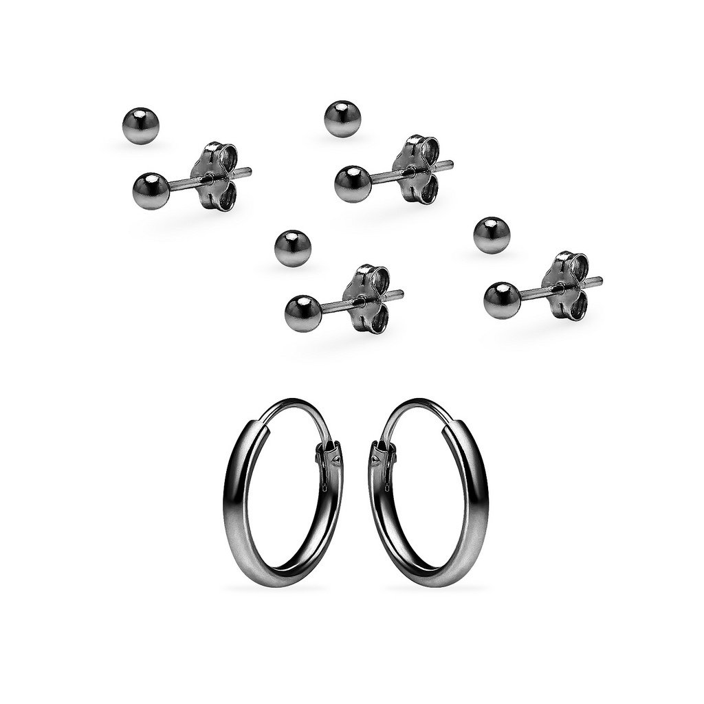 3 Pairs Sterling Silver Earrings Set for Women & Girls 10mm Endless Hoops & 3mm Ball Stud Design Black Flashed Rhodium Finish