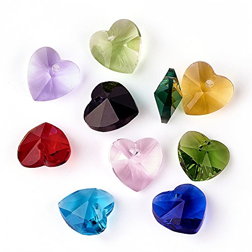 Craftdady 50PCS Mixed Color Handmade Faceted Heart Glass Pendants Charms Loose Bead for Bracelets Necklace Jewelry Making Findings (Glass Heart Charms)