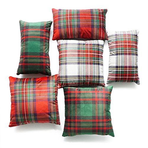 Hofdeco Christmas Decorative Throw Lumbar Pillow Case Royal Stewart Moran Tartan Classic Red Scottish Plaid Velvet Cushion Cover 18x18 12x20 Inches Set of 6Pcs