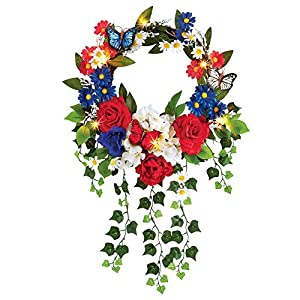 "Collections Etc Lighted Patriotic Mixed Floral Summer Front Door Wreath 4th of July Decoration, 16"" Diam 8"