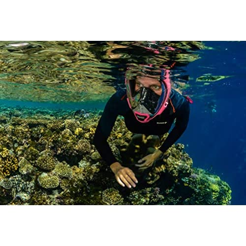 5 Different Colors and 3 Sizes Aria QR Full Face Snorkeling Mask Ocean Reef 180 Degree Underwater Vision Quick Release Snorkeling Mask