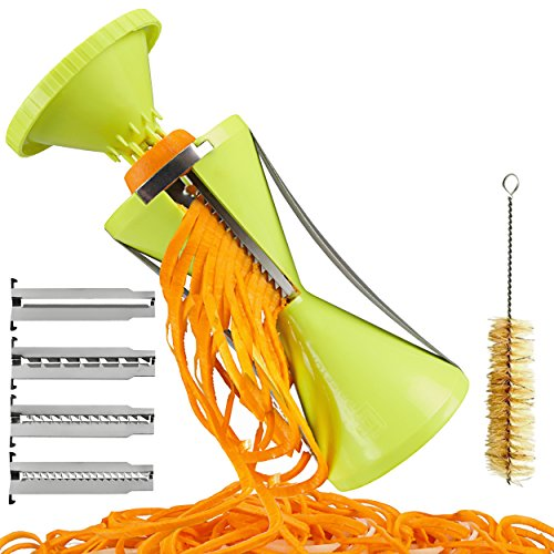 Brieftons NextGen Spiralizer: 4-Blade Vegetable Spiral Slicer, 150% Bigger, 50% Less Wastage, Perfect Veggie Spaghetti/Pasta Maker by Brieftons