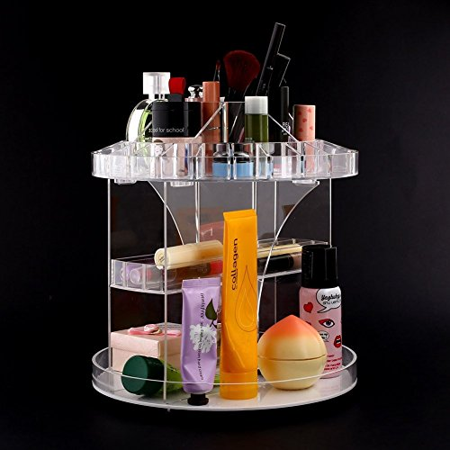 Flymei Makeup Organizer 360 Degree Rotating Acrylic