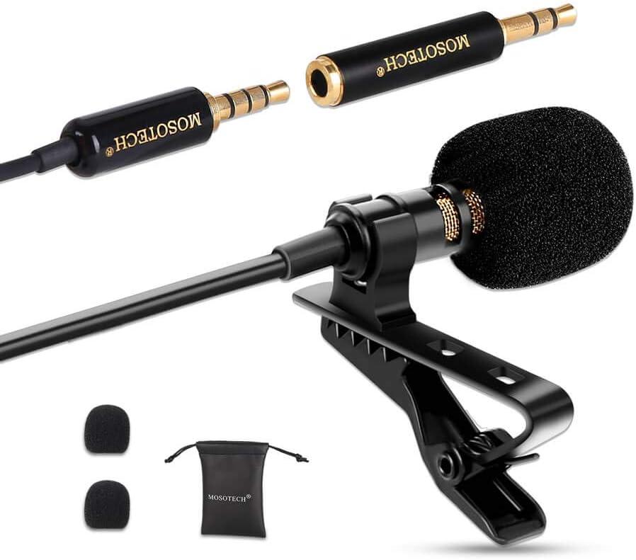 MOSOTECH Microfono Solapa, Omnidireccional Lavalier Microfono de Condensador, Micro para Movil, Grabación Entrevista/Videoconferencia/Podcast/Dicción de Voz/Phone