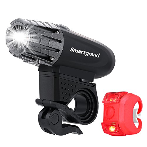 Smartgrand Bike Light, Bike Light Set Bicycle Headlight and Red Tail Light USB Rechargeable Powered 350 LM Bright Bike Light 360 Fully Adjustable Cycling Safety Flashlight