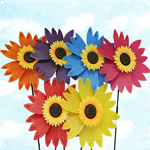 GMSP 1pcs Large Colorful Sunflower Windmill, 14.17in×29.13 in Wind Spinner Children's Toys Home Garden Decoration