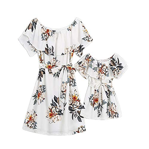 PopReal Mommy and Me Floral Printed Dresses Chiffon Bowknot Ruffles Short Sleeve Beach Family Matching Outfits White
