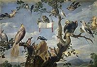 ポリエステルキャンバス、模造品アートDecorativePrintsのキャンバスの油絵` Snyders Frans Concierto De Aves 162930`、8x 11インチ/ 20x 29cmは最高の壁アート装飾、ホームとギフトの商品画像