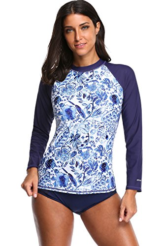 BeautyIn Women's Long-Sleeve Rashguard UPF 50+ Swimwear Rash Guard Athletic Tops