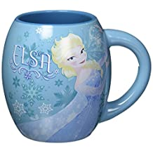 Silver Buffalo DP3744 Disney Olaf and Elsa Curved Ceramic Mug, 18 oz., Blue