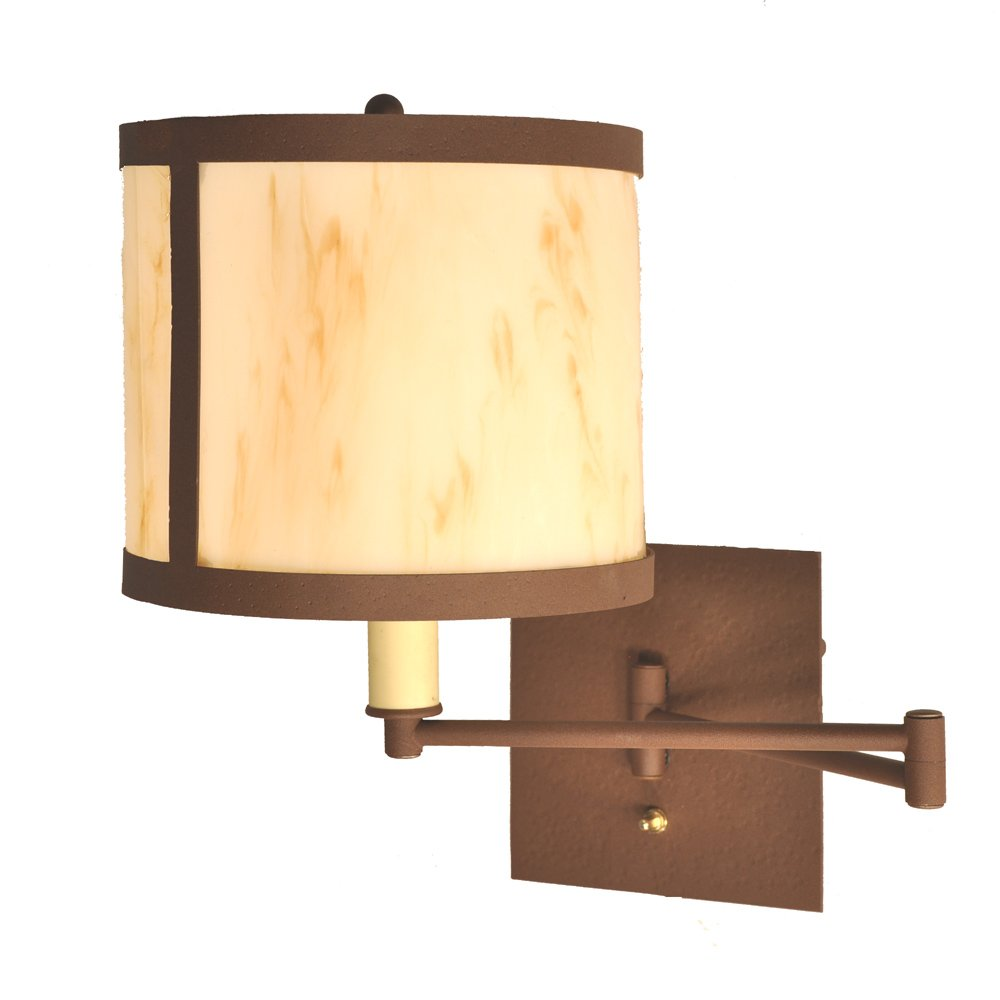 Steel partners lighting 2968 sgl mb seattle single swing arm wall sconce with amber mica lens mountain brown finish amazon com