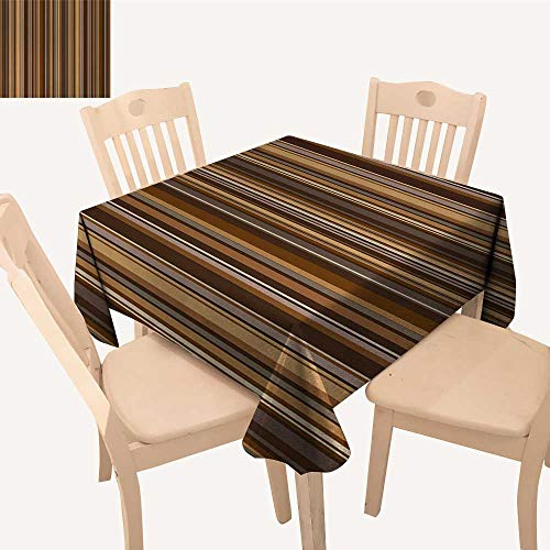 (Abstract Picnic Cloth Vertical Lines in Earthen Toned Color Stripes Various Shades Pattern Square Tablecloth Pale Caramel Chocolate W 36