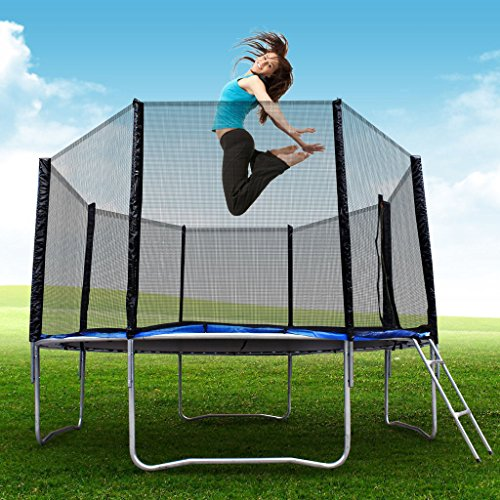Super-Jumper-BCP-Round-Trampoline-Set-With-Safety-EnclosurePadding-Ladder-US