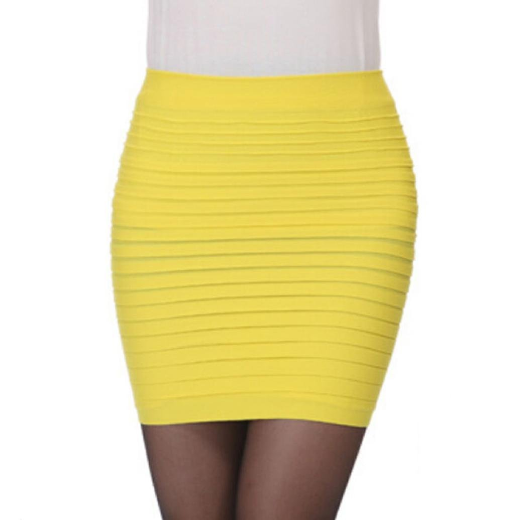 LNGRY 1PC Fashion Womens Elastic Pleated High Waist Package Hip Short Skirt (Yellow)