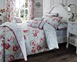 The Bettersleep Company Cotton Rich Bouquet Grey/Pink/Green Duvet set, cushions and bedspread (Double)