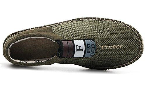 Idifu Heren Comfortabele Lage Top Slip Op Platte Espadrilles Loafers Schoenen Groen