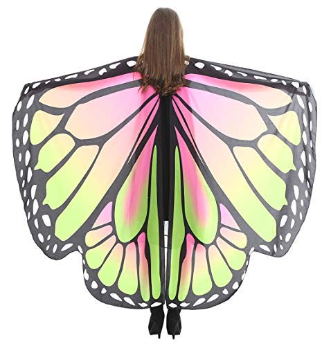 Dancing Party Costume Top Large Butterfly Wings Shawl Cape Fairy Pixie Outfit Costume Accessory for Women Girls Pink-Green]()