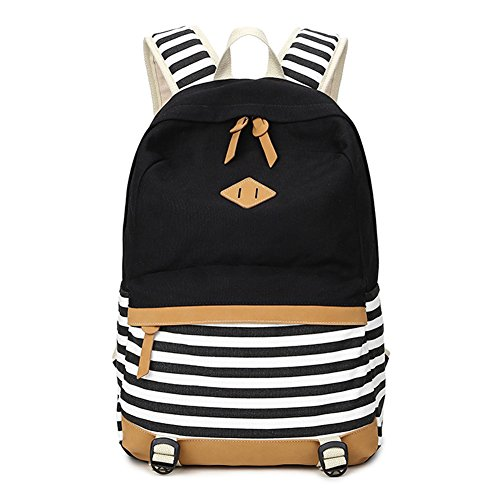 Abshoo Lightweight Canvas Backpacks for Girls School Rucksack Bookbags (Black )