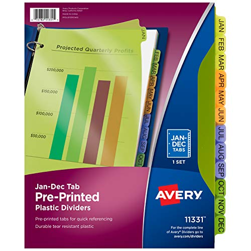 Avery Plastic Jan-Dec Tab Binder Dividers, Pre-Printed Multicolor Tabs, 12-Tab, 1 Set (11331) ()