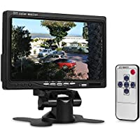 Hikity Car Backup Monitor 7 inch TFT Display Truck Rear View Screen 2 Video Input High Resolution Rotating with Remote Control