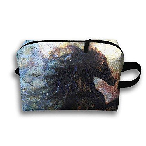 Horse Jump Artwork Cosmetic Bags Makeup Organizer Bag Pouch Zipper Purse Handbag Clutch Bag ()