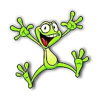 Vinyl Junkie Graphics Green Frog Jumping Sticker/Decal