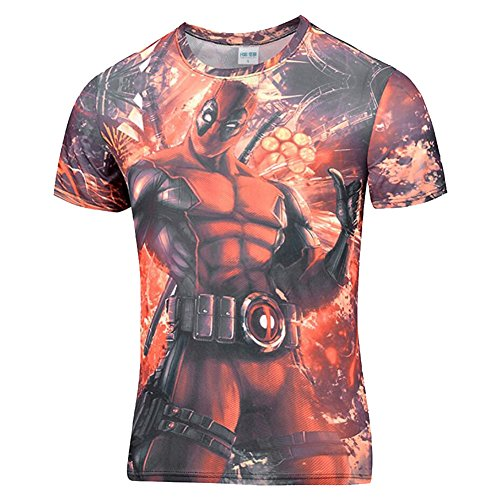Bolany Hot Deadpool Funny 3D Characters Badass Fitness Comic Casual T-Shirt (Badass Characters)