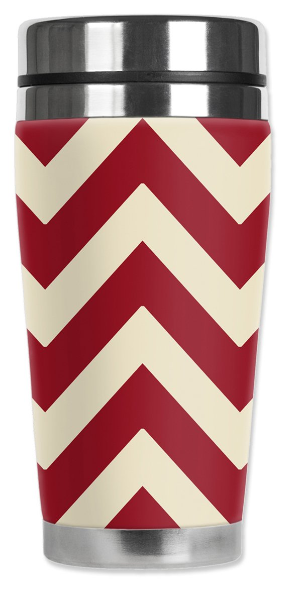 Mugzie 994-MAXOklahoma Football Colors Chevron Stainless Steel Travel Mug with Insulated Wetsuit Cover Black 20 oz