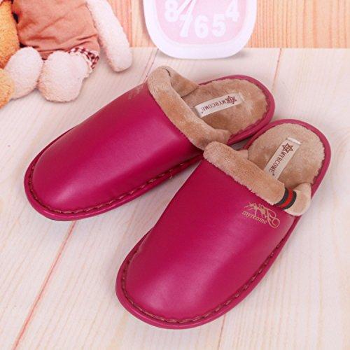 Fankou pantofole uomini e donne matura Impermeabili di cotone pantofole pantofole ,37/38, rosso