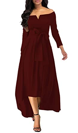 c6403c467080 Image Unavailable. Image not available for. Color: Annystore Women's  Elegant Off Shoulder Solid Color Formal Party High Low Maxi Dress with Belt  Wine