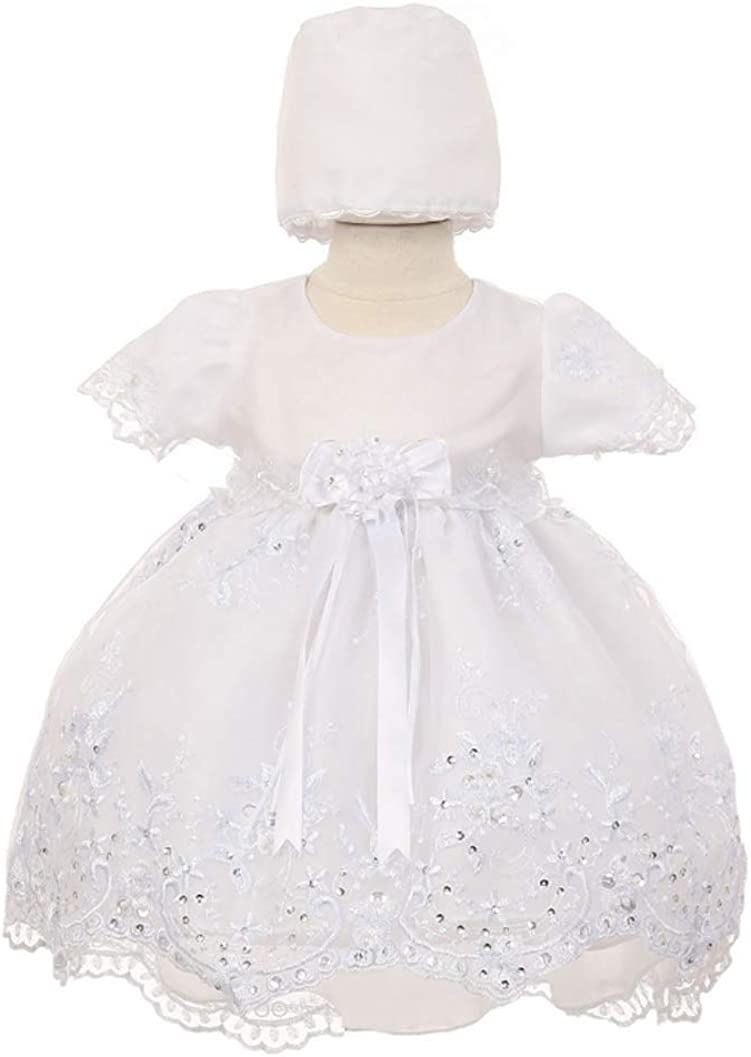 Angeline Baby Girls Christening Dress Baptism Dedication White Gown with Bonnet