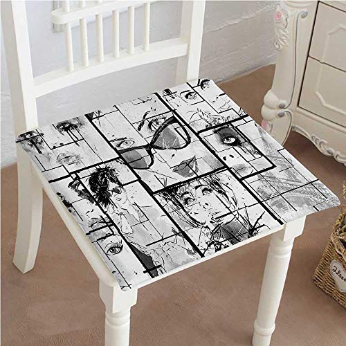 Mikihome Outdoor Chair Cushion Decor Women Faces with Different Eye Makeup Eiffel Tower Romance Paris Image Black Comfortable, Indoor, Dining Living Room, Kitchen, Office, Den, Washable 22