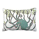Emvency Pillowcases Steampunk Sea Octopus Tree Leaves Abstract Painting Polyester Decor Pillow Cover 20 x 30 Inch Queen Size Rectangle Decorative Pillowcase With Hidden Zipper Home Sofa