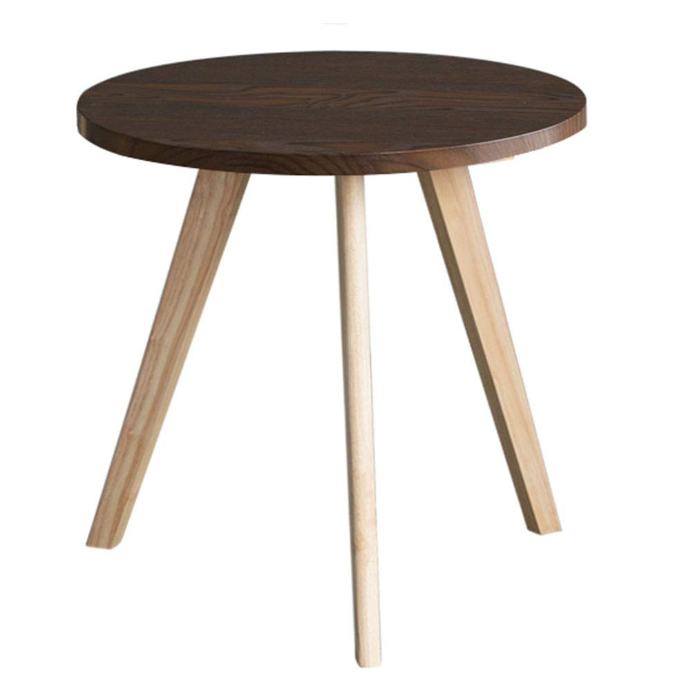 LJHA bianzhuo Side Table, Solid Wood Round Stable Side Table/Mini Practical Sofa Side Cabinet/Bedside Table Corner Space-Saving Small Coffee Table Bedside Tables (Color : C, Size : 6055CM) by GYH End Table