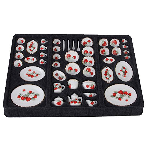 46pcs Porcelain Strawberry Ceramic Coffee Tea Cup Set for 1/12 Dollhouse Miniature Dining Ware