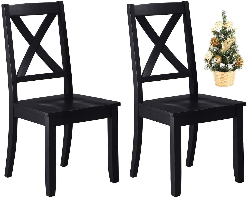 Sturdy Better Homes and Gardens Home & Kitchen Furniture Maddox Crossing Dining Chair with Christmas Tree, Black Bundle, Set of 2